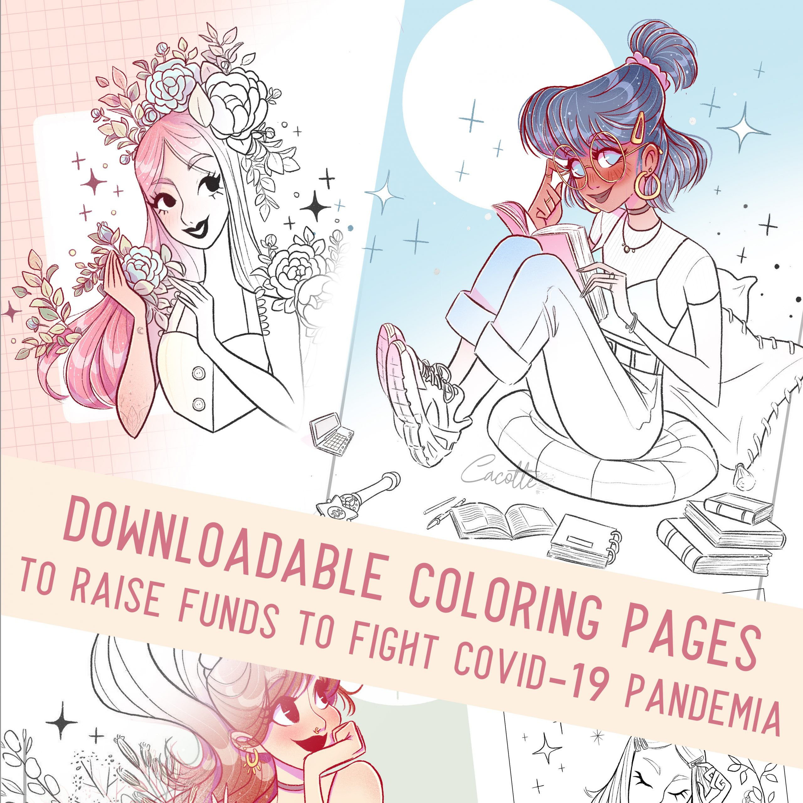 I made downloadable Coloring Pages to raise funds against COVID-19. LINK IN MY SHOP
